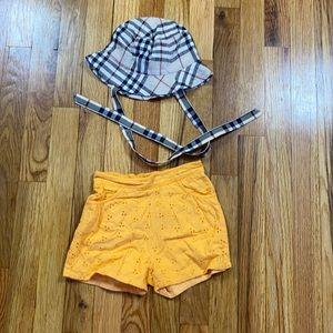 Burberry One Size Hat & Eyelet Orange Shorts